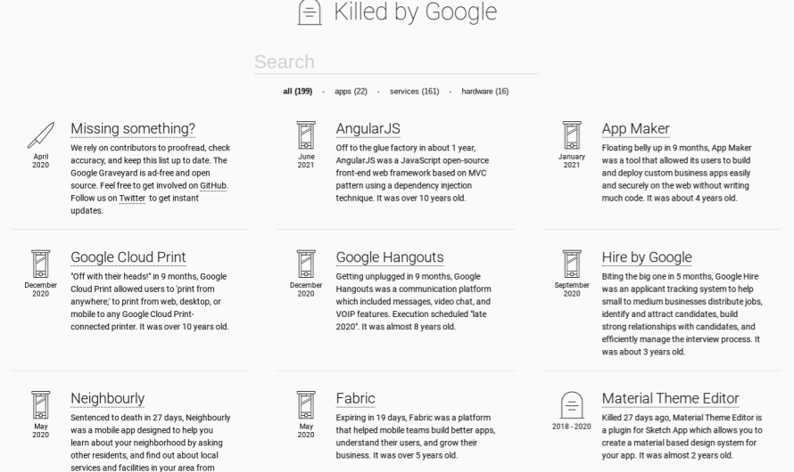 Google Reaches Out to Creator of Killed By Google Website in Seeming Move to Acquire Services