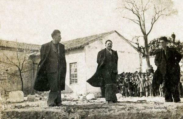 Η εκτέλεση των δύο δοσίλογων μετά την απελευθέρωση. Κοσμάς Φωτιάδης (Φώτεφ) και Κων.νος Δελιάκος (Δελιάκωφ)
