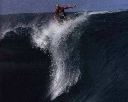 Surfer Wiping Out on Huge Wave