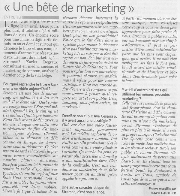 Article Le Soir Stromae Marketing Xavier Degraux