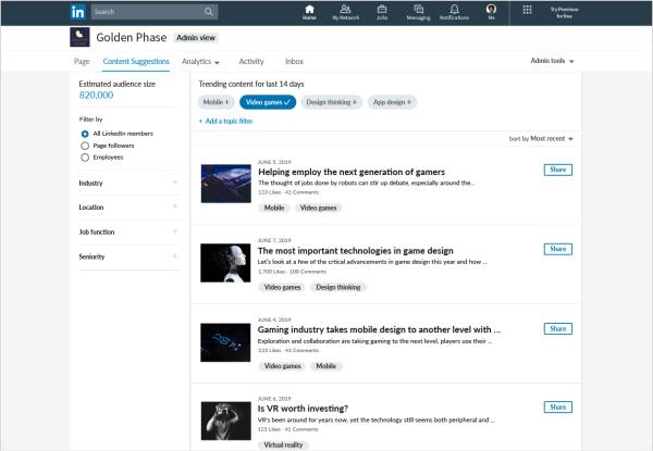 Linkedin Page entreprises contenus curation