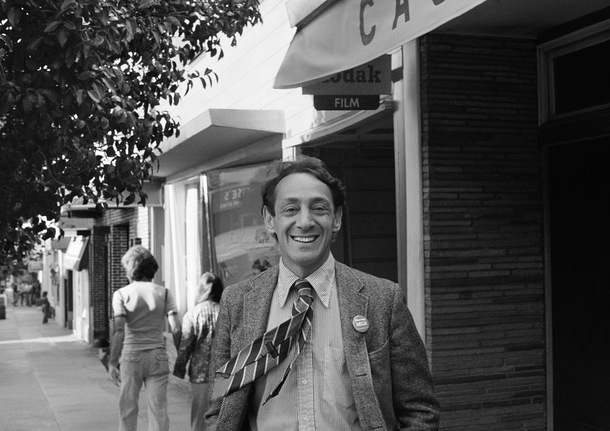 Harvey Milk In front of his Castro Street Camera Store, circa 19