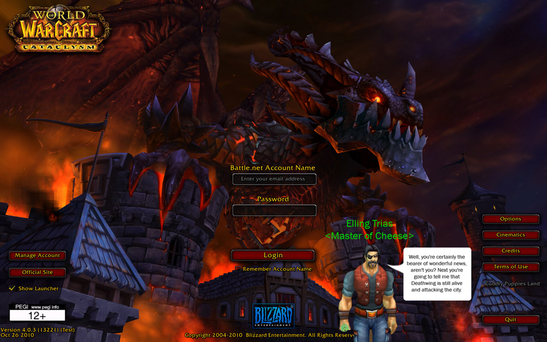 what the cataclysm login