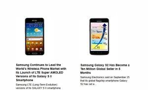 Samsung: dix millions de Galaxy S II et un modèle LTE 4G.