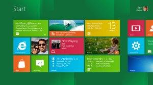 L'écran de démarrage de Windows 8.