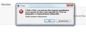 iOS 5: un des multiples messages d'erreur que j'ai essuyé.