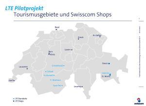 Première carte de déploiement de la 4G / LTE en Suisse.