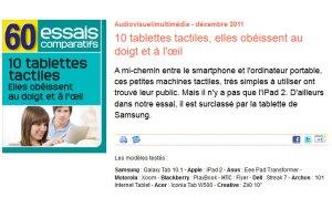 60 millions de consommateurs passe en revue les meilleures tablettes: Android arrive en tête.