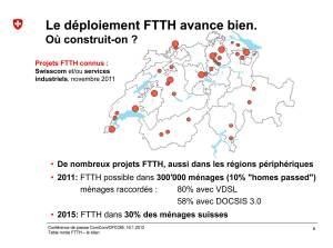 Fibre optique: la carte des projets de déploiement en Suisse. ComCom.