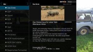 Un écran de Zattoo sur VideoWeb TV.