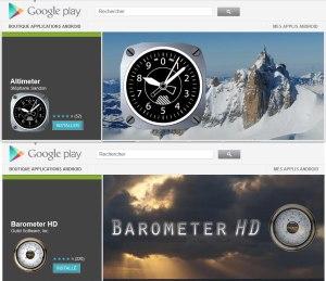 Altimeter et Barometer sur le très riche Play Store.