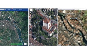 Le château de Thoune, selon Here de Nokia, Google Maps et Plans d'Apple.
