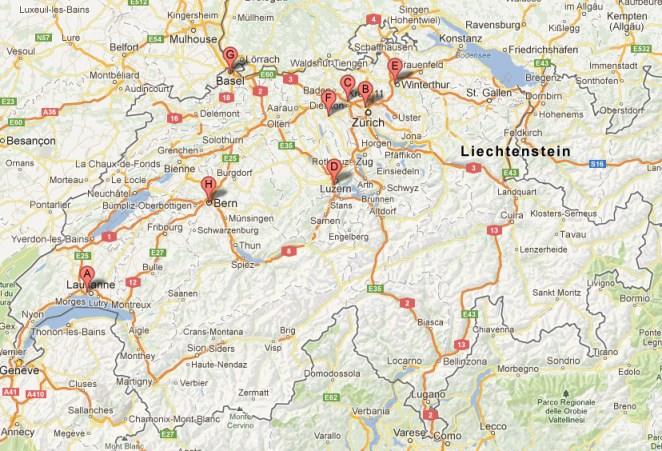 Les succursales de digitec.ch en Suisse.