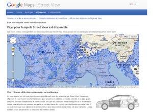 La disponibilité du service Street View de Google.