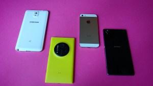 Xperia Note 3 vs Nokia Lumia 1020 vs iPhone 5s vs Sony Xperia Z1.