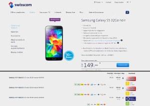 Le Samsung Galaxy S5 noir 32Go sans abonnement: 969 francs chez Swisscom contre seulement 749 francs sur toppreise. ch...