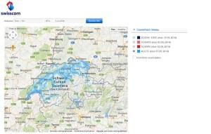 L'état du réseau 4G/LTE de Swisscom en Suisse.