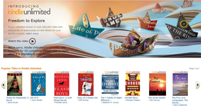 Kindle Unlimited: l'accès sans restriction à plus de 600'000 ouvrages pour 9,99 dollars par mois.