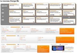 Orange Me: les nouveaux tarifs en haut et les anciens en bas.