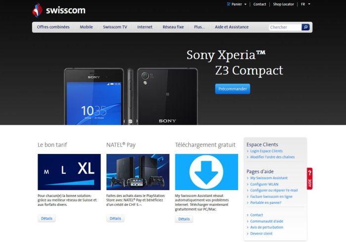 Le Sony Xperia Z3 en précommande chez Swisscom.