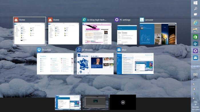 Windows 10: les programmes actifs sur deux bureaux, lors de ce test.
