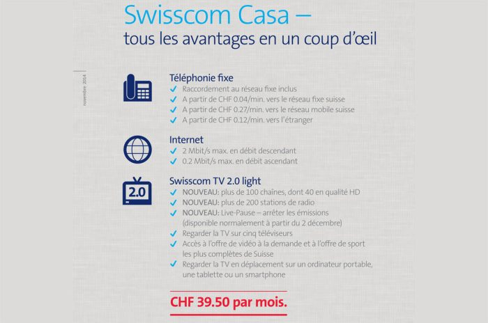 Pour comparaison, Swisscom TV 2.0 pour 40 francs par mois.