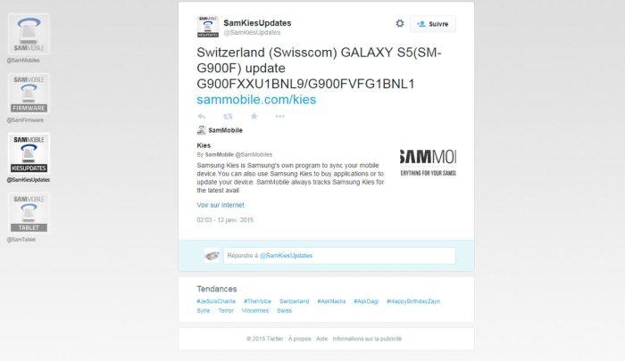 Le Samsung Galaxy S5 re4oit une mise à jour en Suisse.