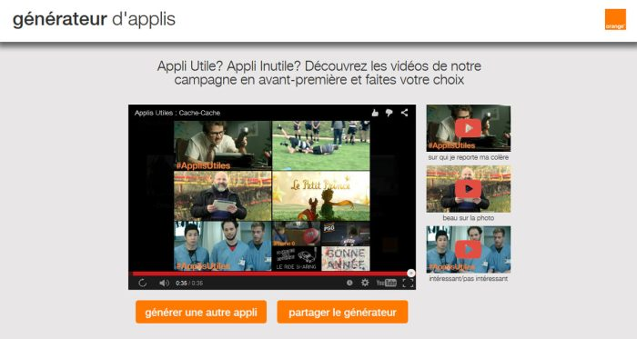Le générateur d'applications d'Orange France.