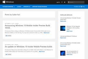 Windows 10: les nouveautés pour les Insiders par Gabe Aul.
