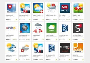 Quelques applications météo suisses.