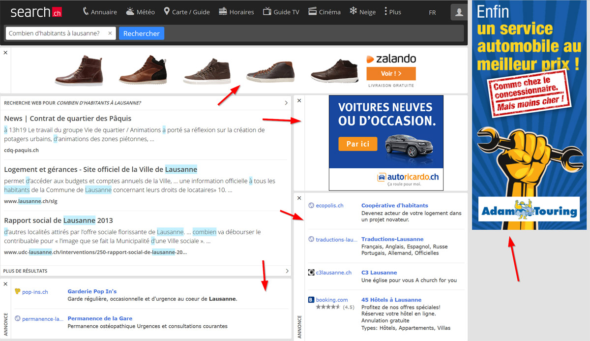 Le moteur de Swisscom Directories, search.ch pratique largement le commerce de publicités.