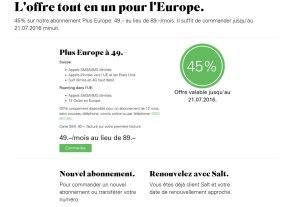 Salt Plus Europe en promotion 49 francs au lieu de 89 francs.