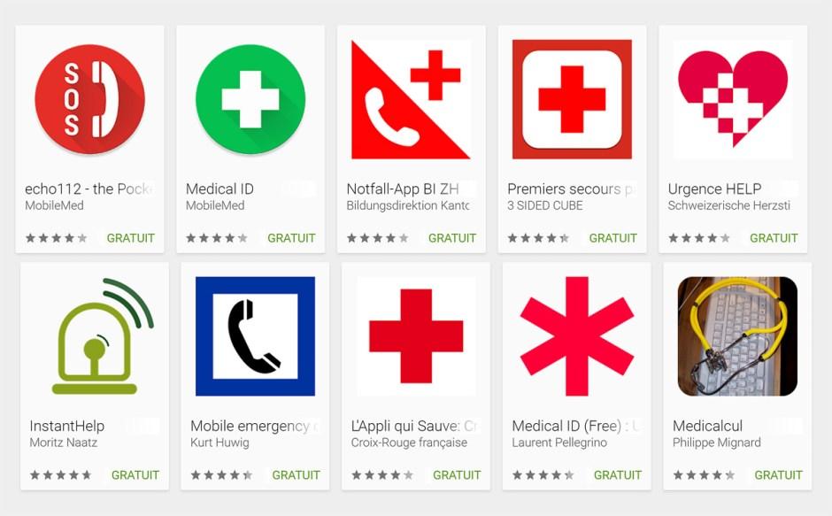 Quelques applications pour votre santé et les urgences.