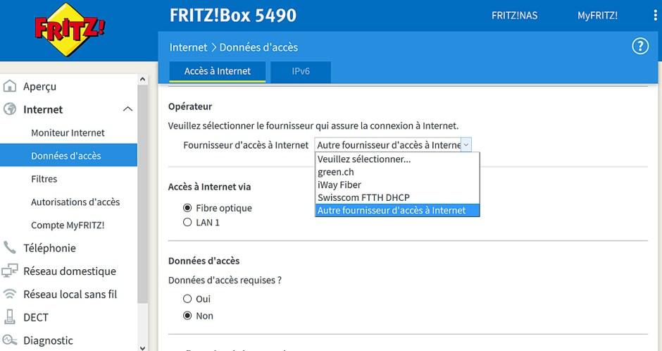 La FritzBox 5490 pour la fibre optique ne semble pas optimisée pour Sunrise...