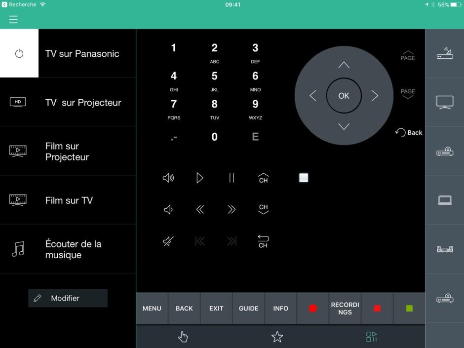 Une configuration de l'application Logitech Harmony sur l'iPad d'Apple.