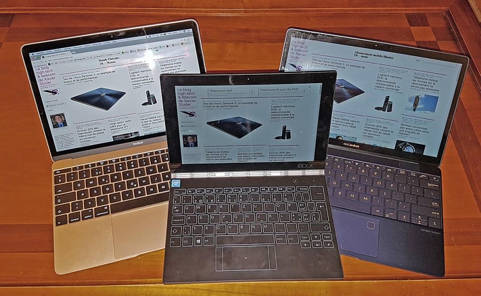 Apple MacBook 2016 vs Lenovo YogaBook vs Asus ZenBook.