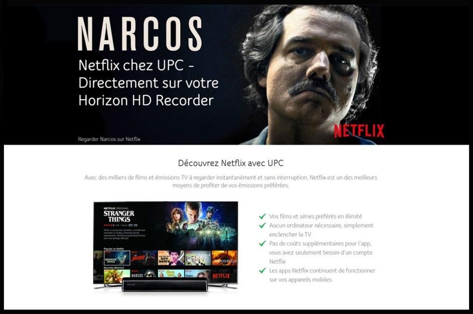 Réaliste, UPC propose Netflix sur son boîtier Horizon HD.