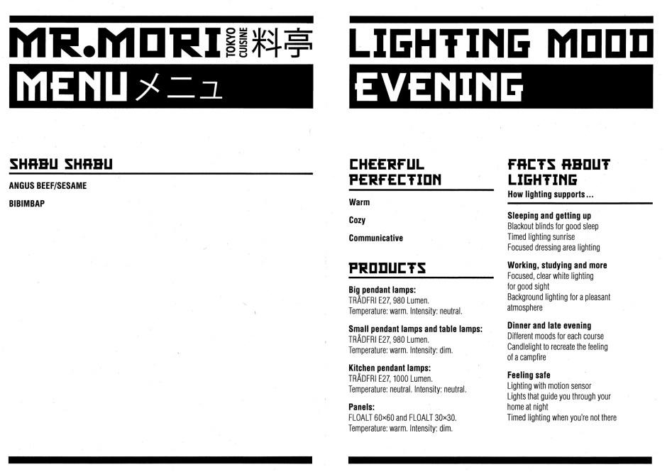 Ikea Lighting Mood chez Mr. Mori à Berne.