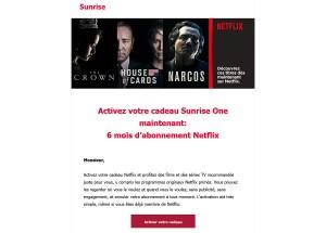 Test de Sunrise One: comment bénéficier du crédit de 107 francs avec Netflix