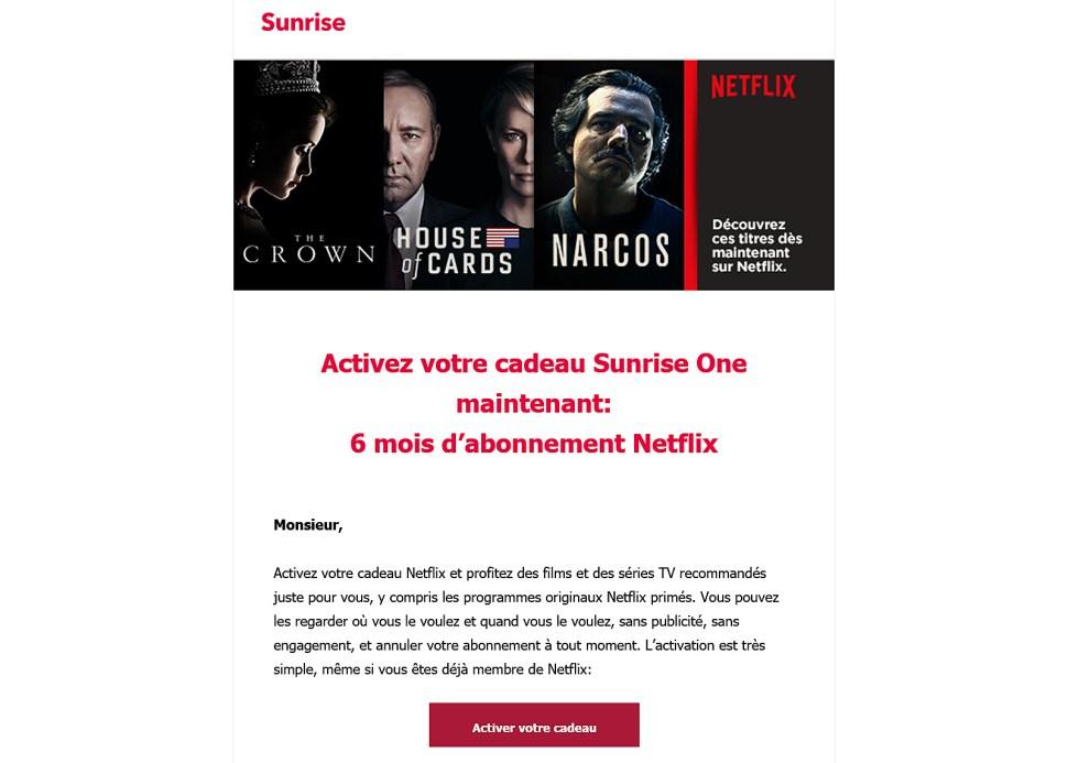 Avec One, Sunrise offre six mois d'abonnement à Netflix.