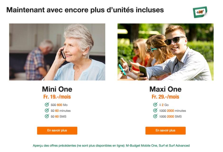 M-Budget revoit ses formules Mini et Maxi One.