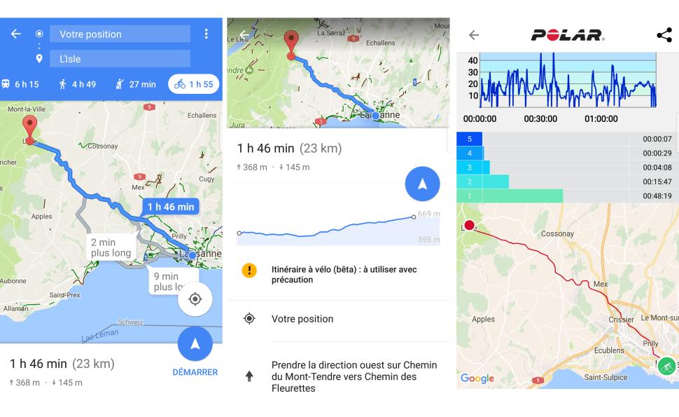 Petite balade à vélo en famille de Lausanne à L'Isle grâce à Google Maps...