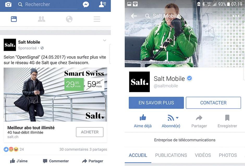 Salt souligne ses résultats en matière de 4G, notamment face à Swisscom.