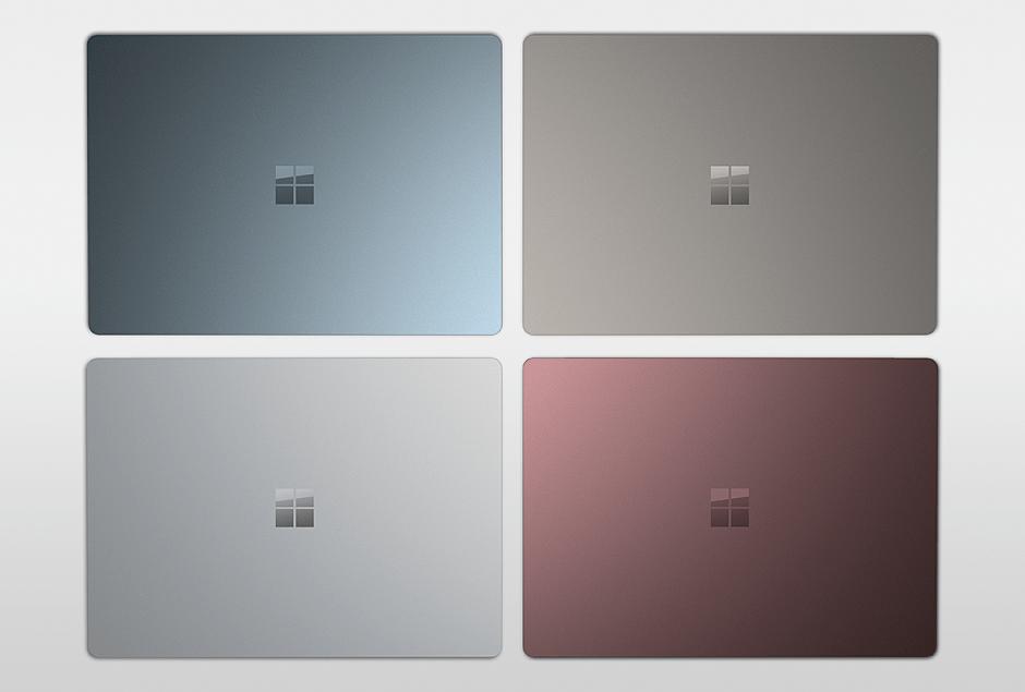 Le Surface Laptop de Microsoft sera disponible en quatre coloris.