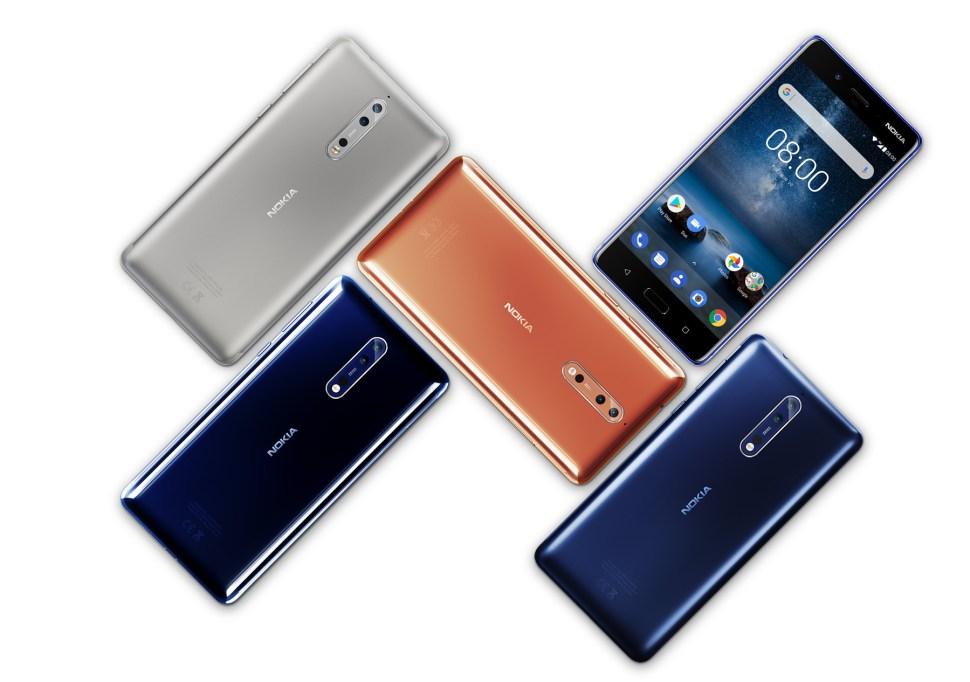 Le Nokia 8 sous Android 7.1.1 est proposé dans des déclinaisons en aluminium plutôt originales.