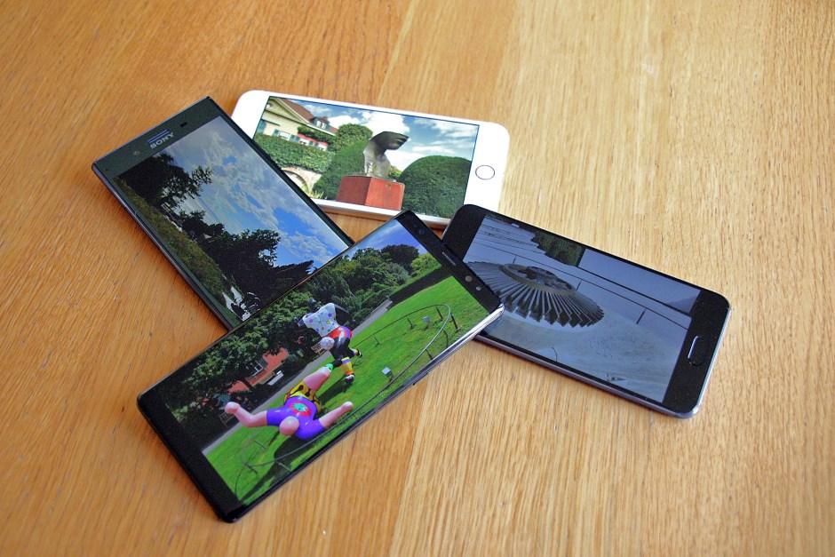 Samsung Note 8 vs Xperia XZ Premium vs Huawei P10 vs iPhone 7 Plus.