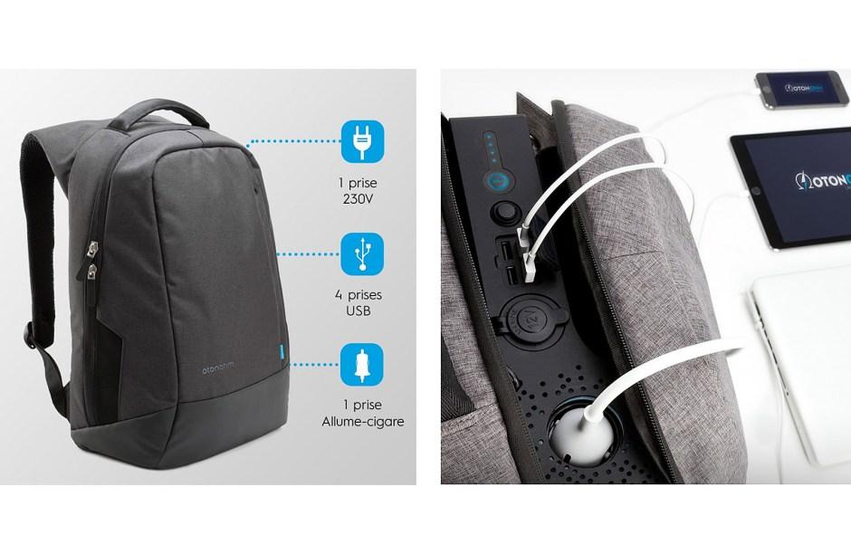 iPhone 8, Note 8 ou autres bidules connectés: Otonohm propose un sac à dos équipé d'une prise secteur 230V, en plus de 4 prises USB et d'une prise allume-cigare...