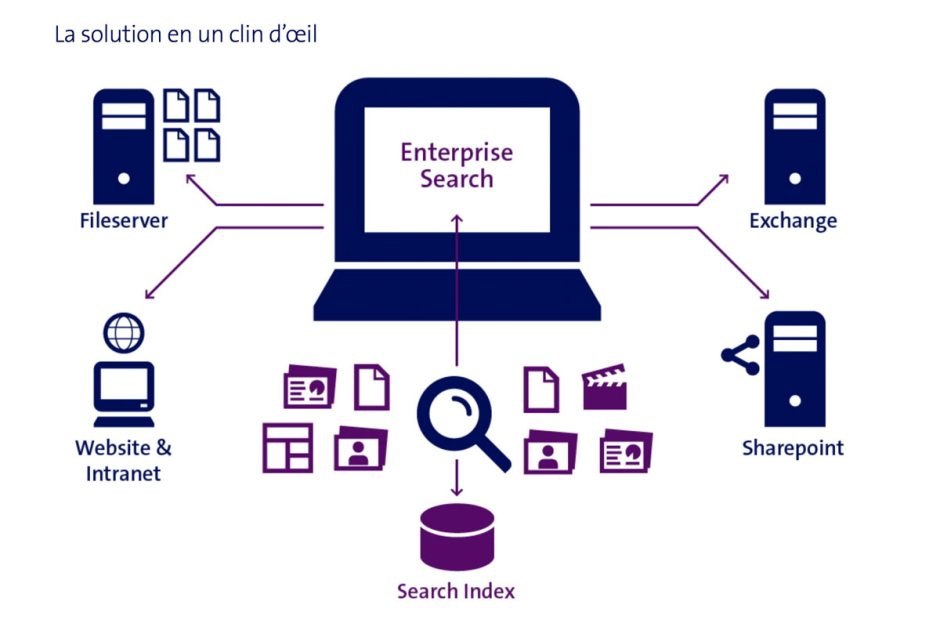 """""""EntrepriseSearch"""" est taillé pour permettre de trouver des données à l'échelle de l'entreprise rapidement, en toute sécurité et avec précision."""