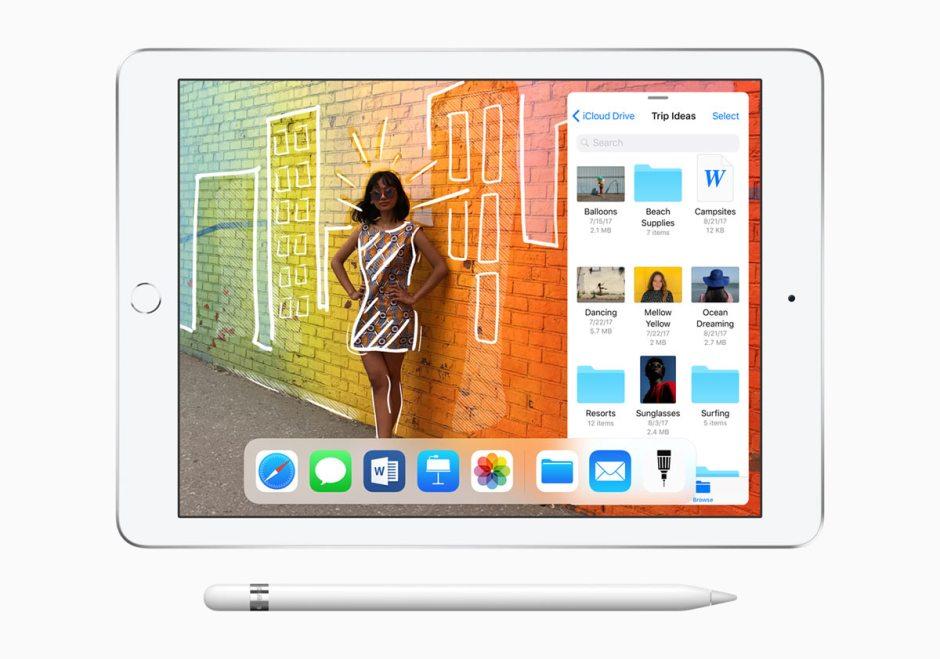 Le nouvel iPad 6 de 9,7 pouces basé sur la puce A 10 Fusion, accompagné de l'Apple Pencil.