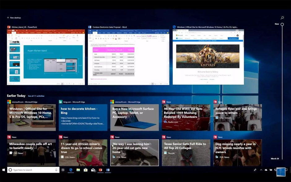 La fonction Timeline de Windows 10, édition avril 2018.